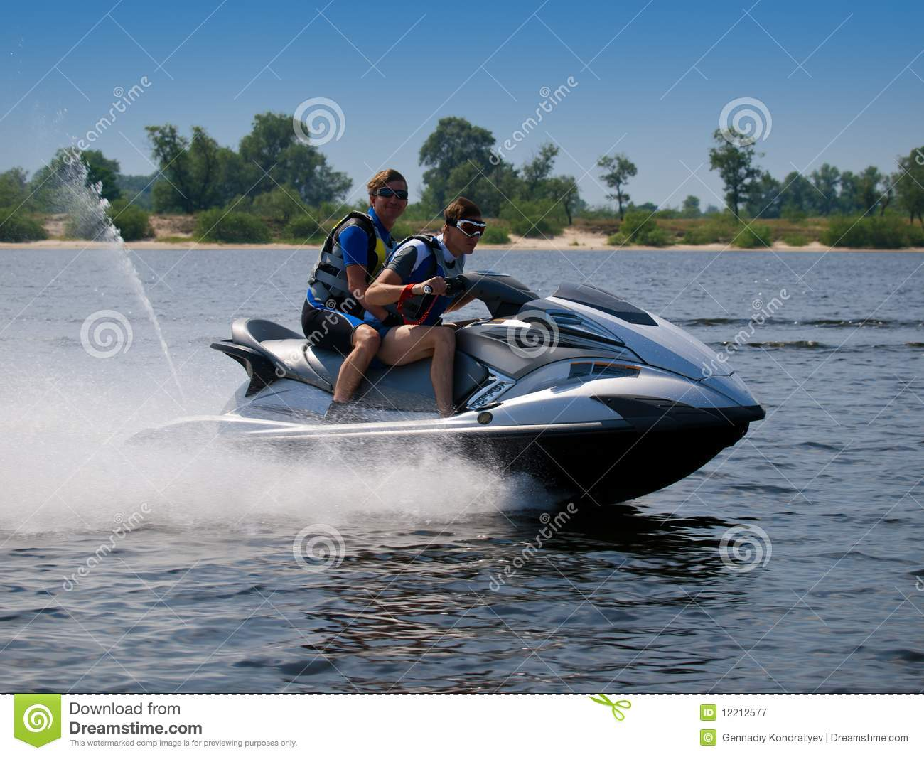 Seadoo Prices >> Couple Men On Jet Ski In The River Royalty Free Stock Photography - Image: 12212577