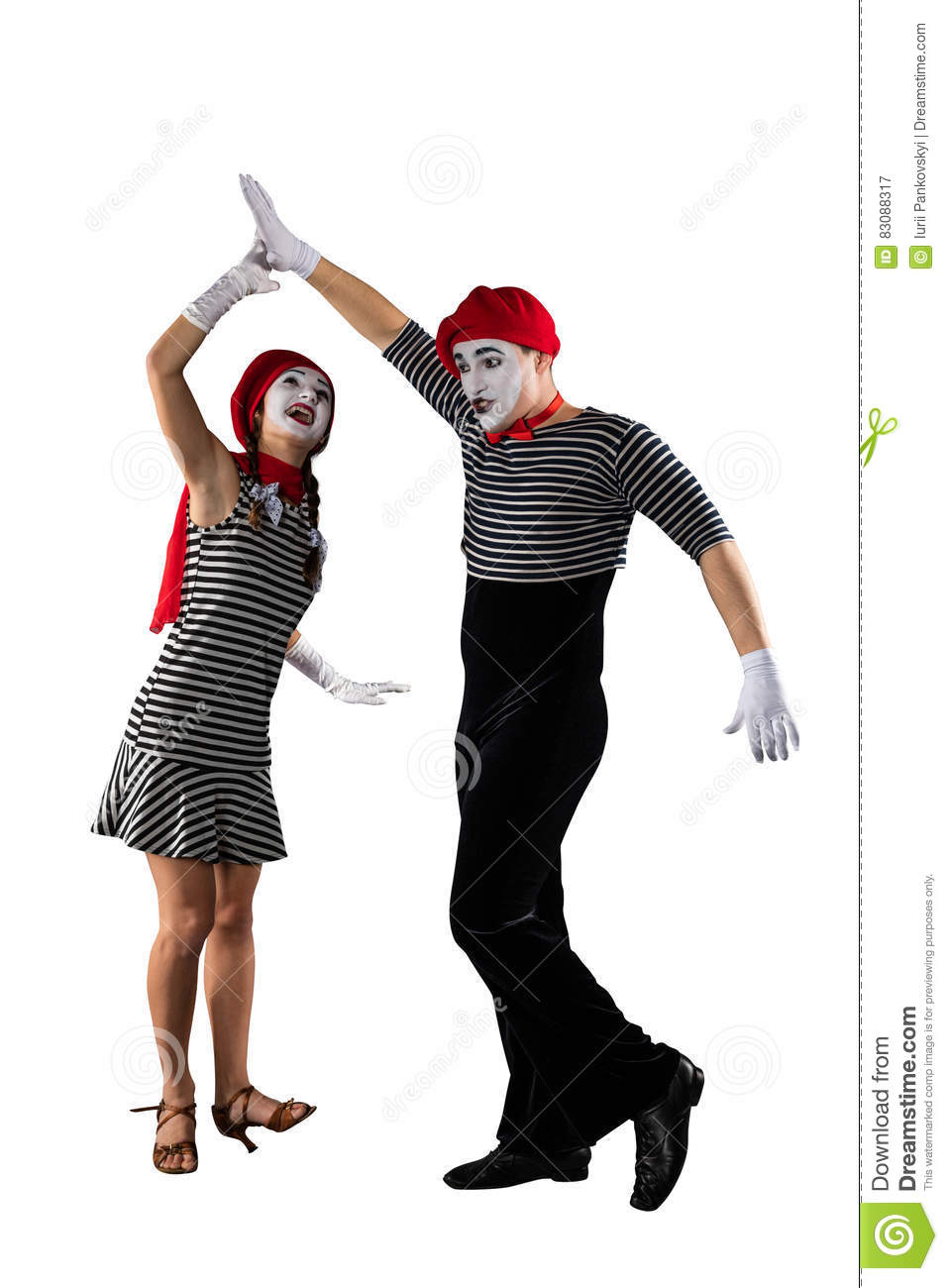 Couple of mimes isolated on white