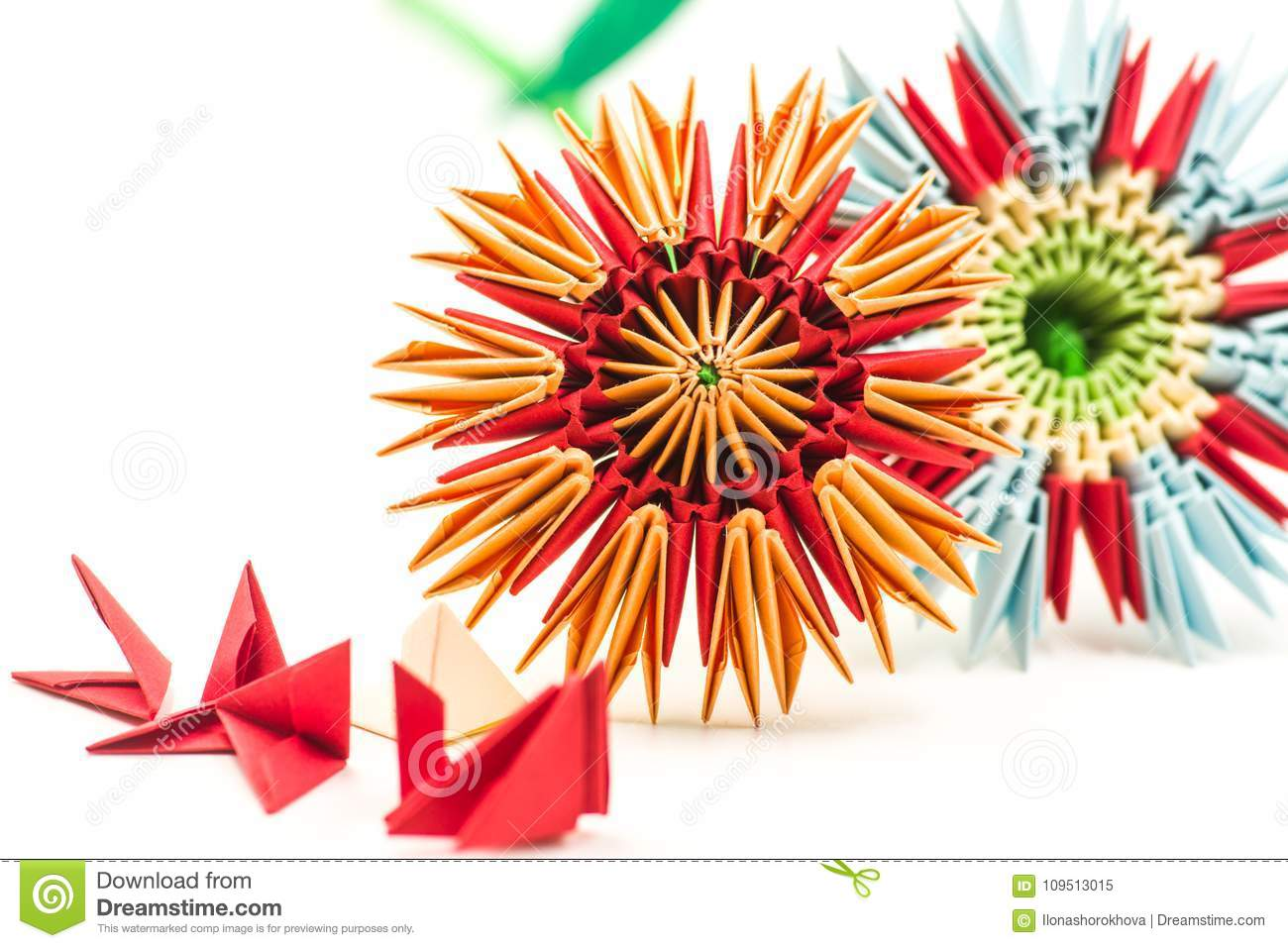 Two Modular Origami Flowers With Module Blocks Isolated On White
