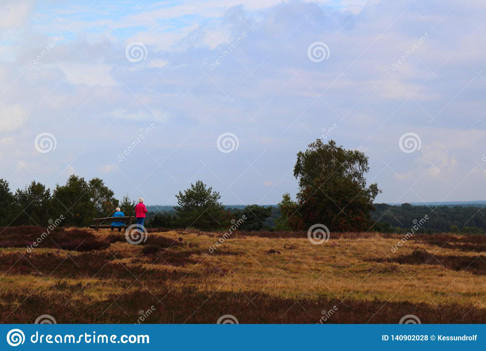 Couple in moorland taking a rest