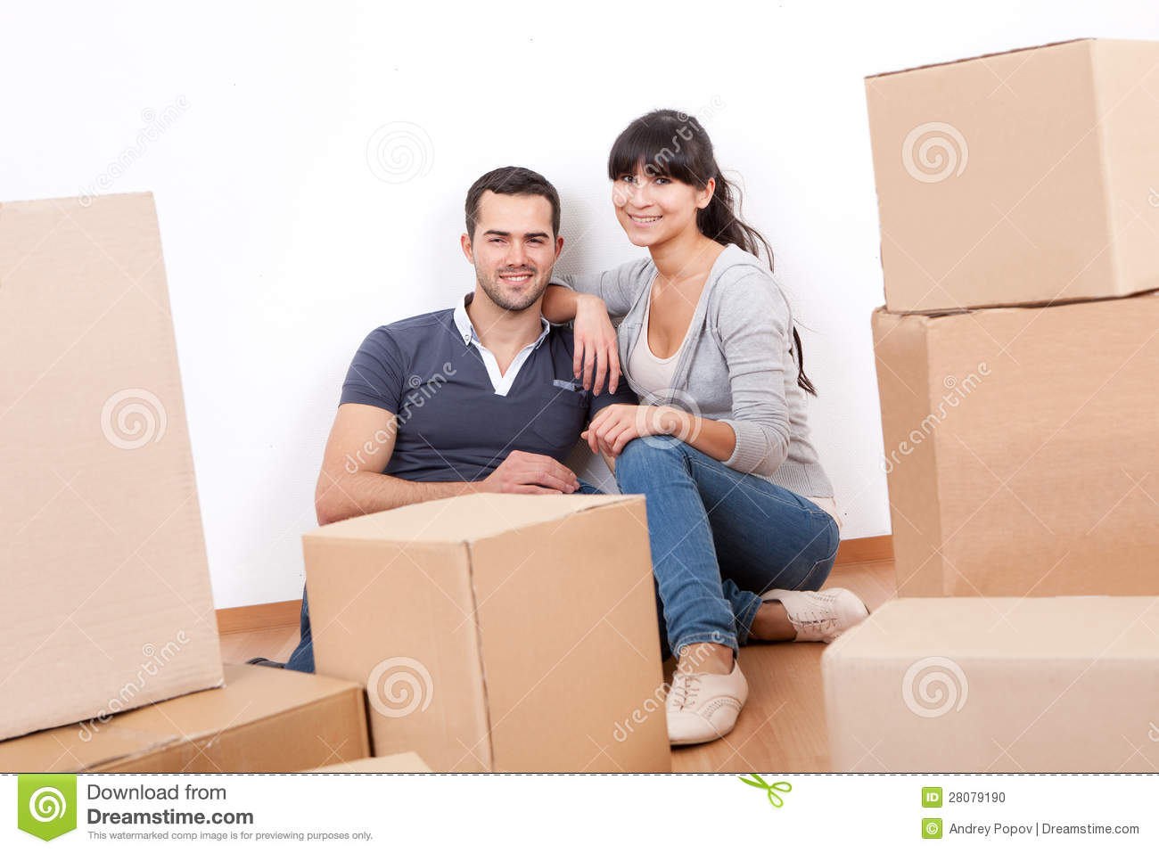Couple moving into new house stock photo image 28079190 When is the best time to move house