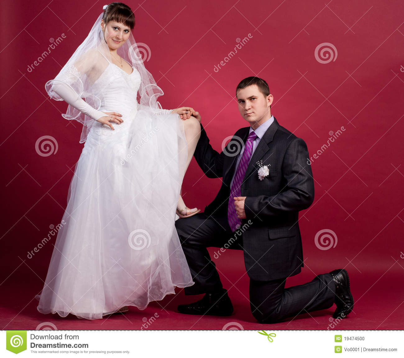 Couple Newlyweds In Wedding Dress And Suit Stock Photo