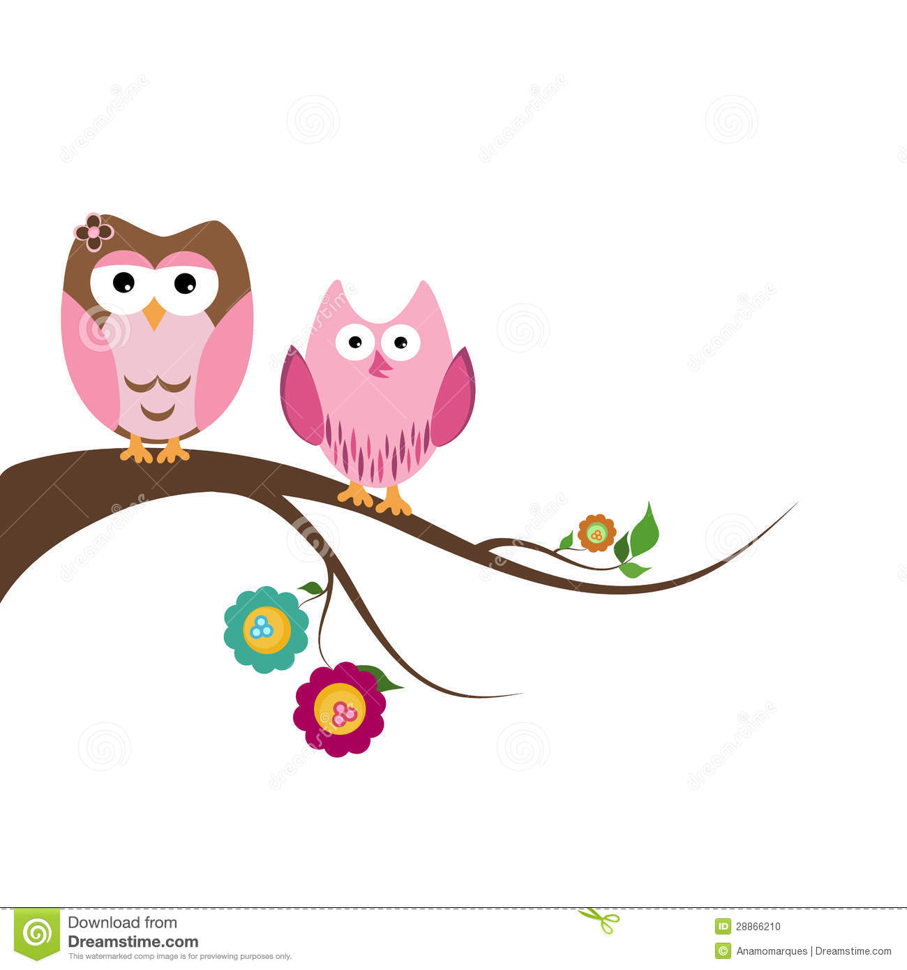 Two Owls On Branch Clip Art The gallery for ...