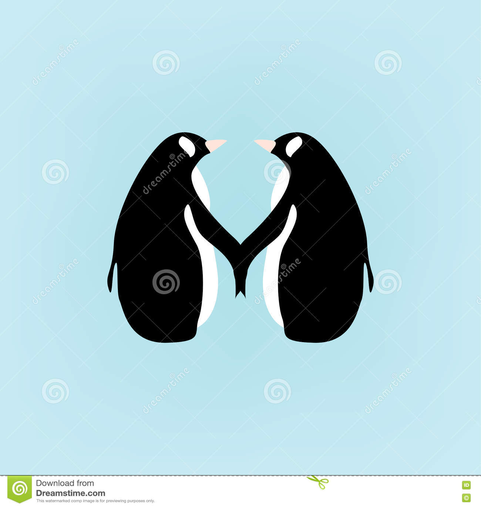 Cartoon penguins holding hands - photo#1