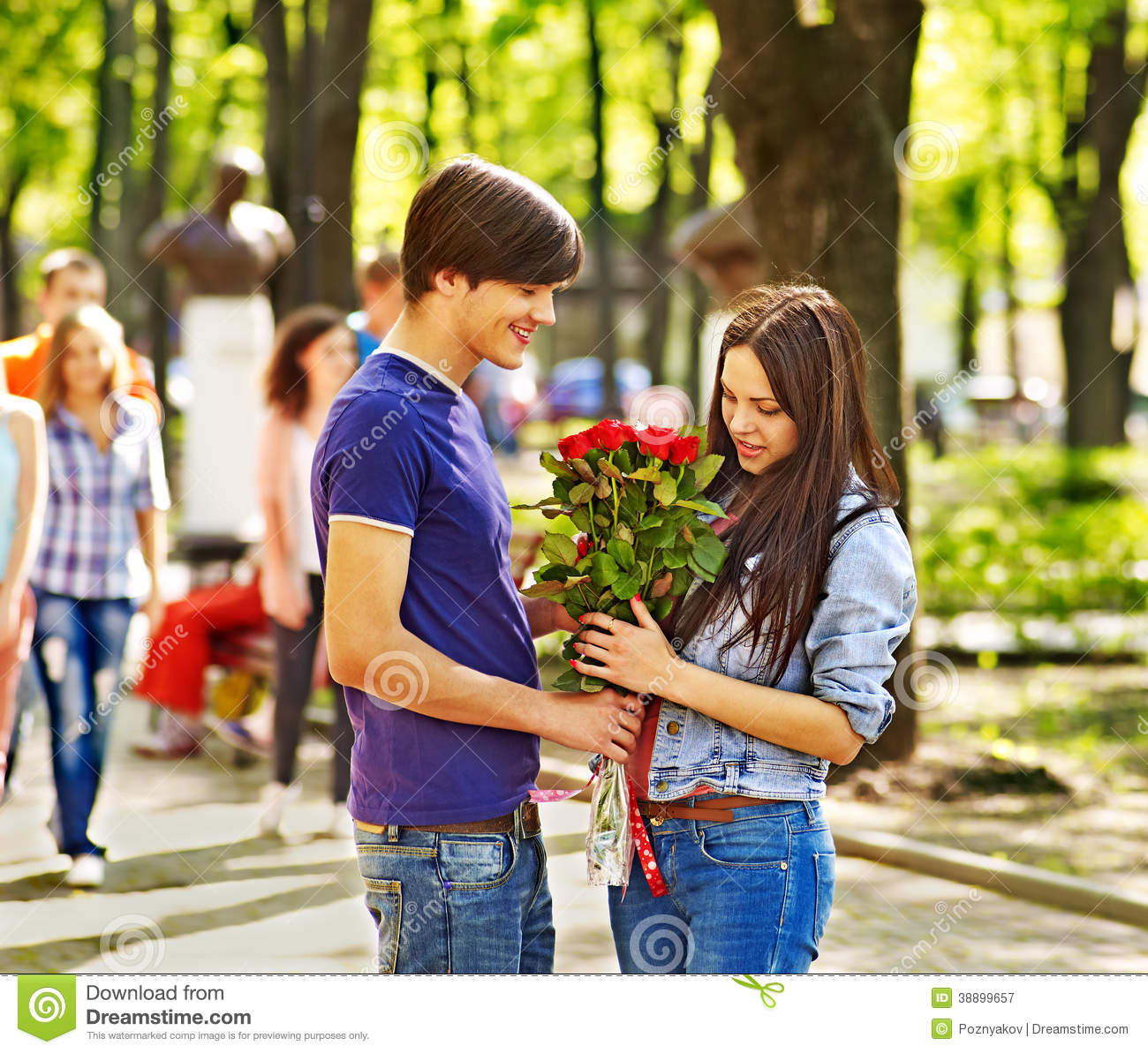Couple Of People On Date Outdoor. Stock Image - Image of