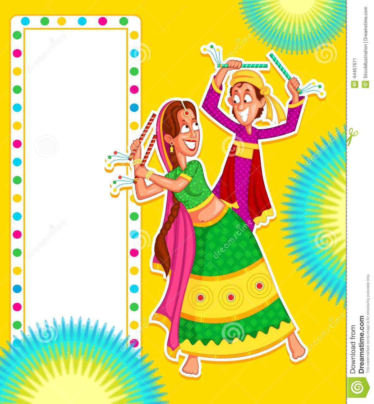 Couple Performing Dandiya Cartoon Vector Cartoondealer