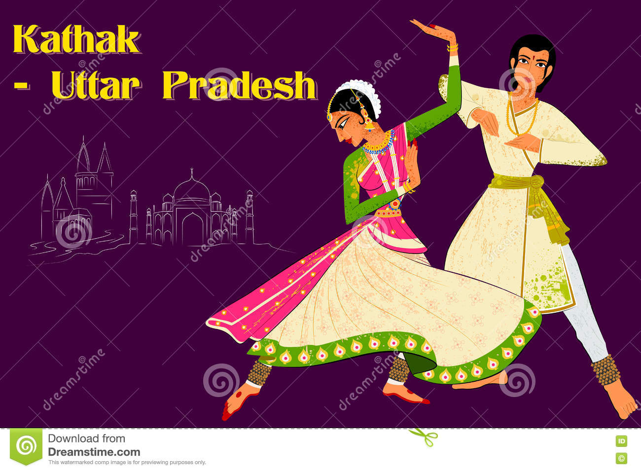 Couple performing Kathak classical dance of Northern India