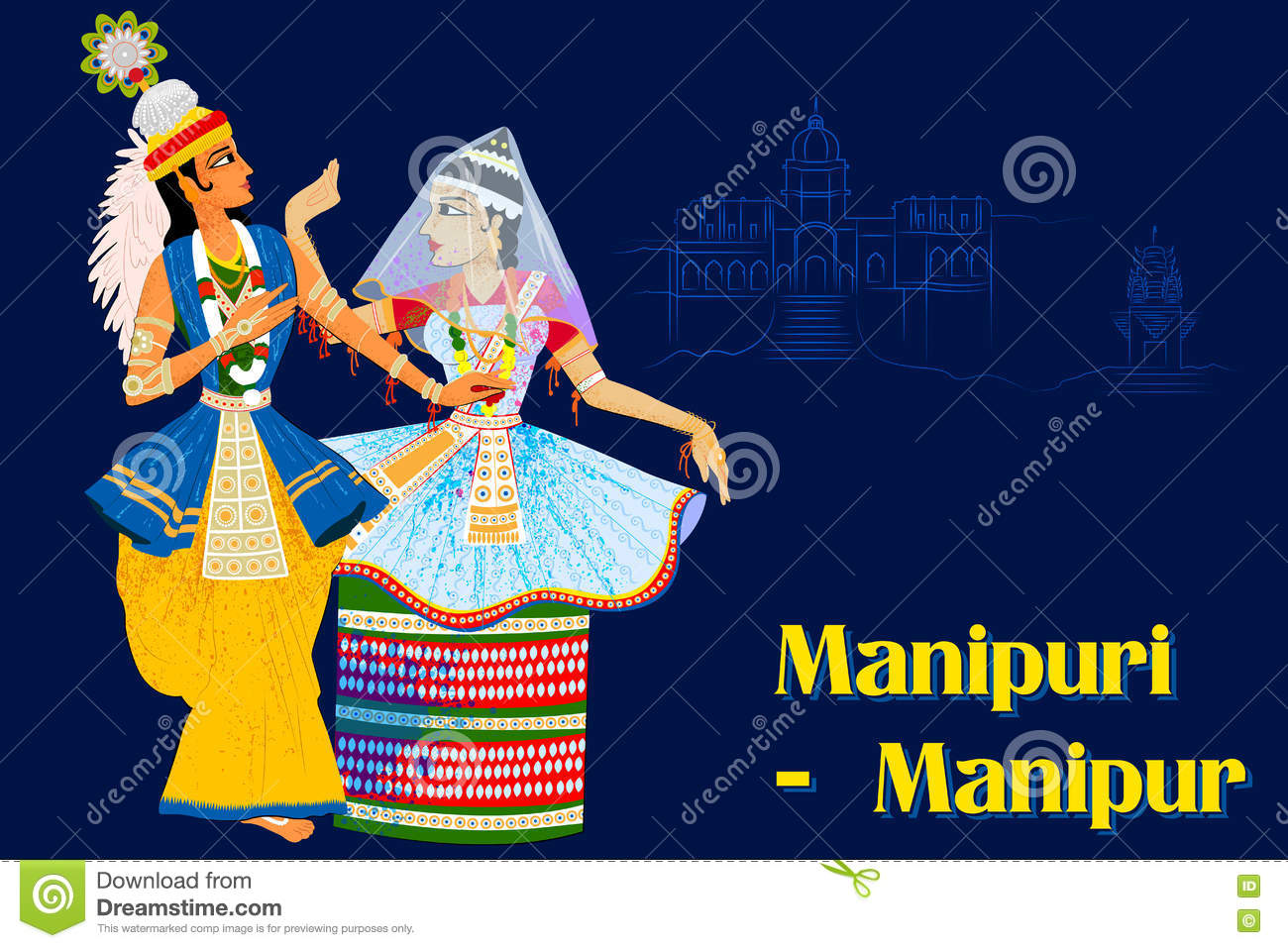 Couple Performing Manipuram Classical Dance Of Manipur -2782