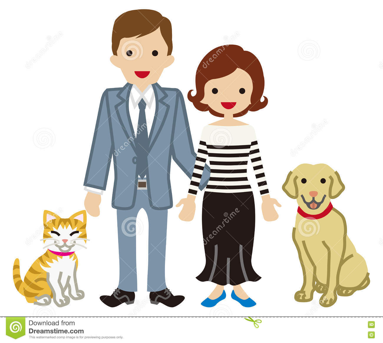 Couple and Pets - Dog and Cat