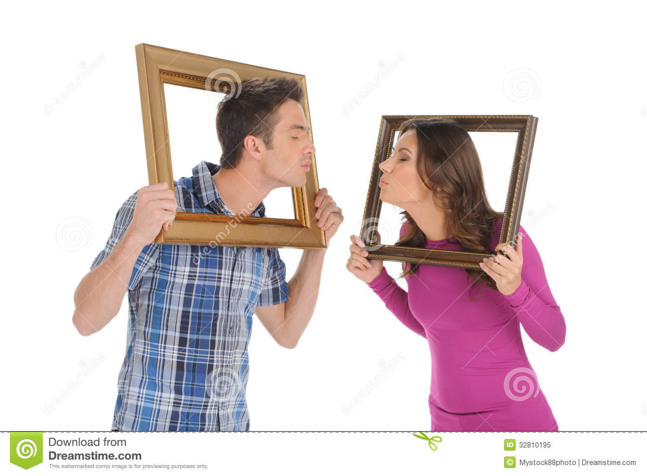 Couple With Picture Frames. Stock Image - Image of closed, happiness ...