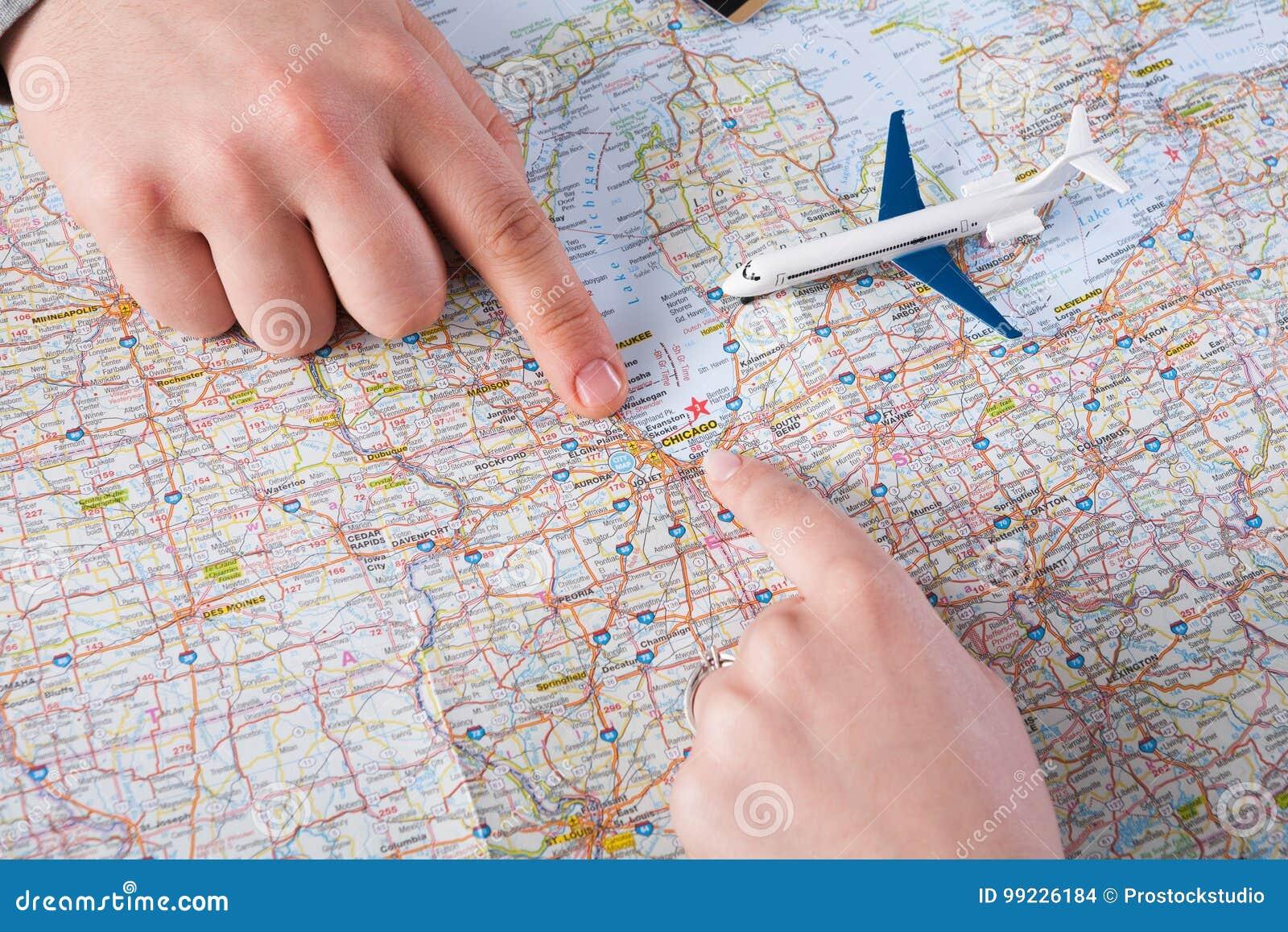 Couple Planning Travel To Chicago, USA Stock Photo - Image ...
