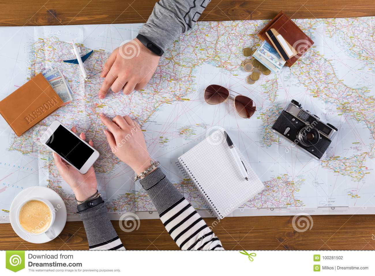 Couple planning travel to Madrid, Spain