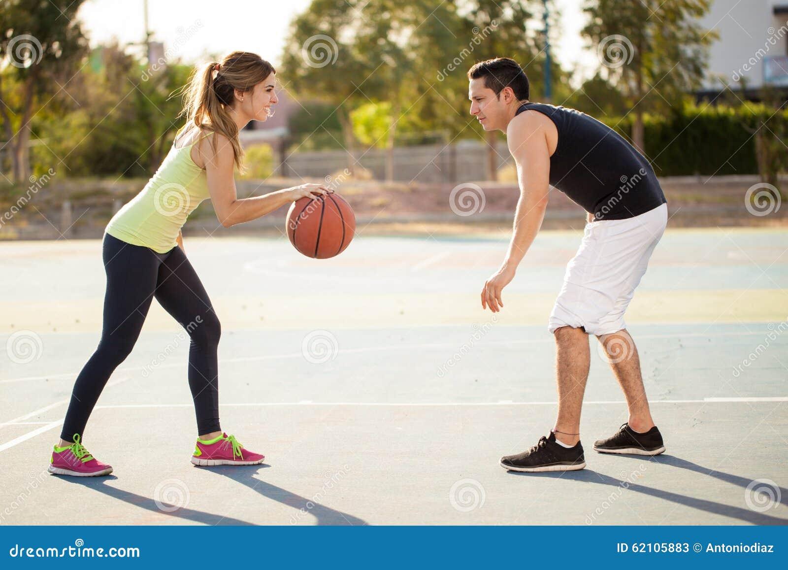 Couple Playing Basketball Outdoors Stock Image Image Of Female