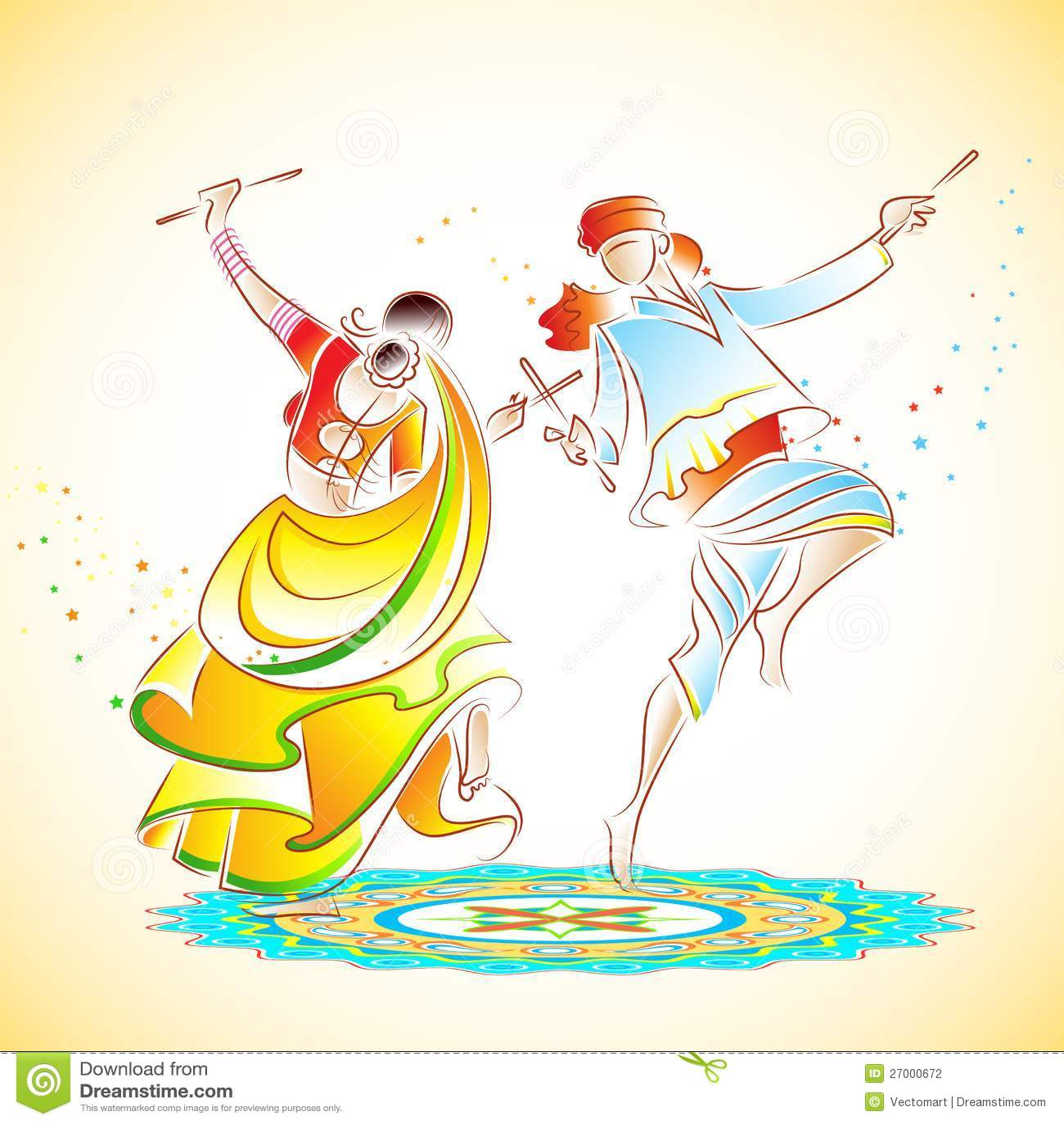 Couple Playing Dandiya Stock Photography Image 27000672