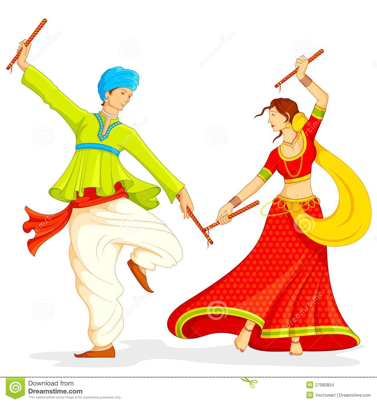Couple Playing Dandiya Stock Images Image 27080854
