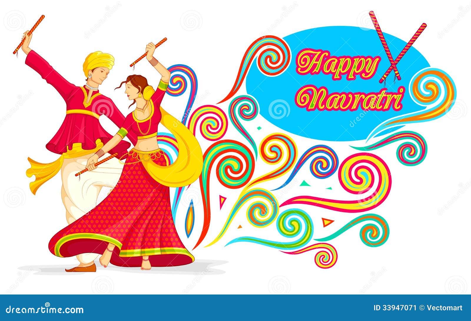 Illustration of couple playing dandiya on Navratri Dandiya Dance Clipart