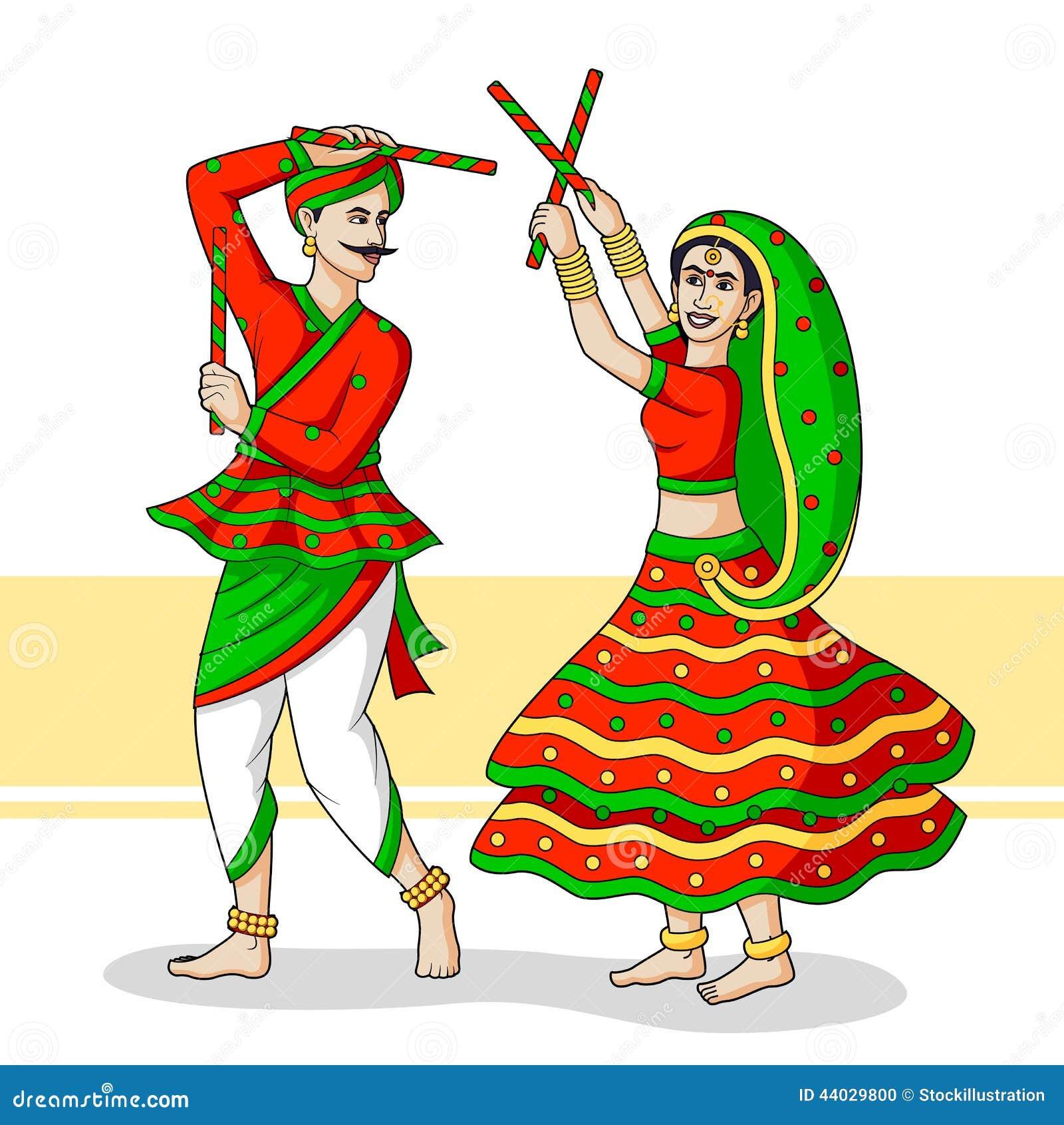 Couple Playing Dandiya Stock Vector Image 44029800