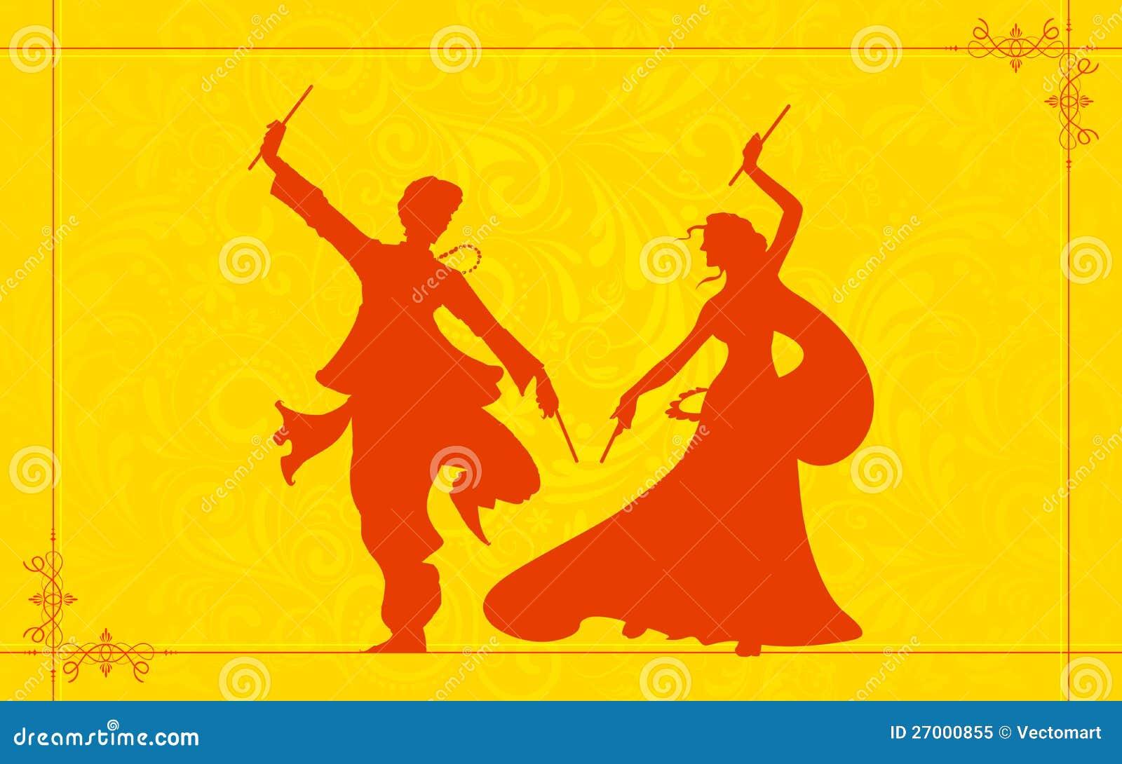 Illustration of couple playing garba on Navratri Dandiya Dance Clipart