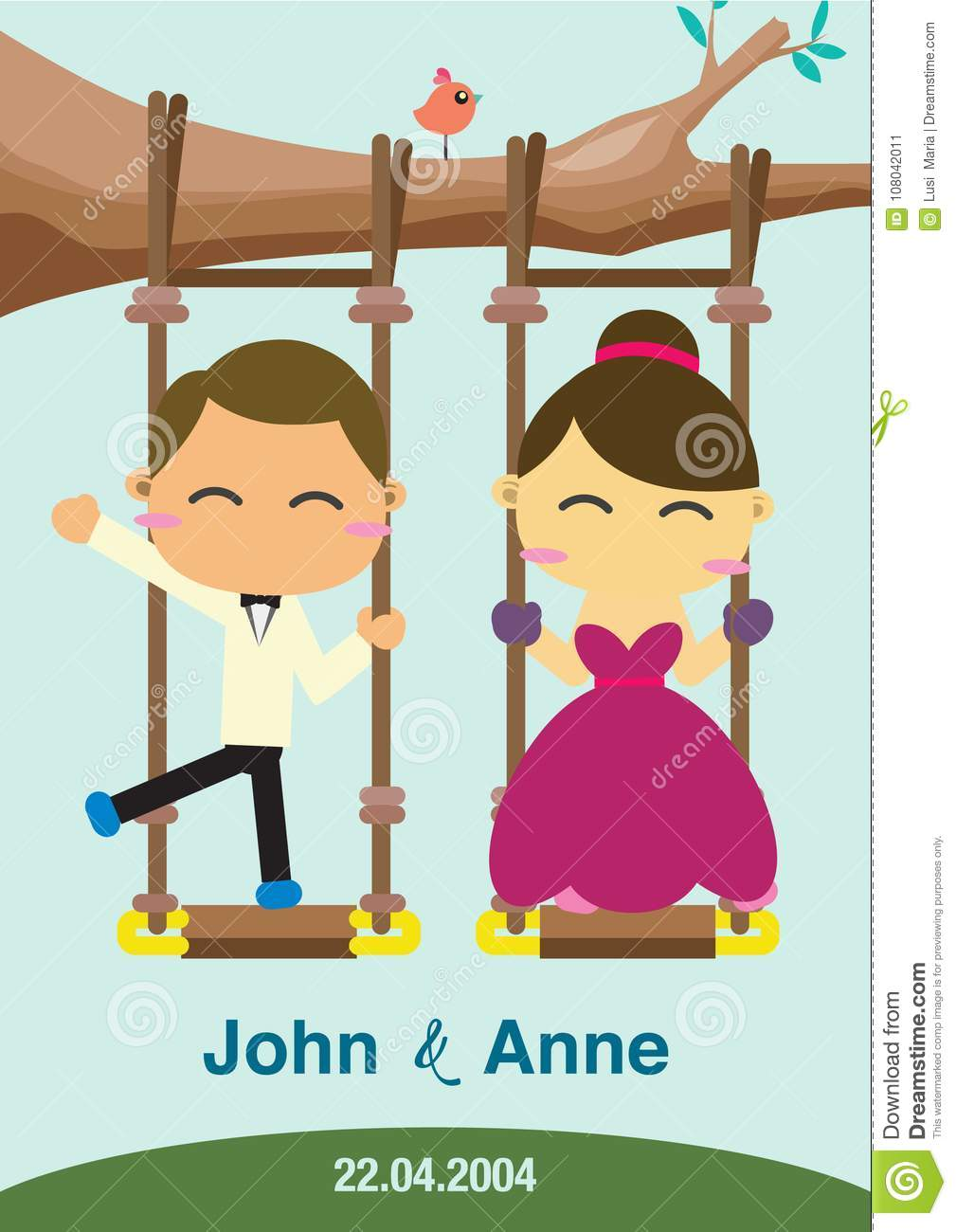 The couple is playing a swing.