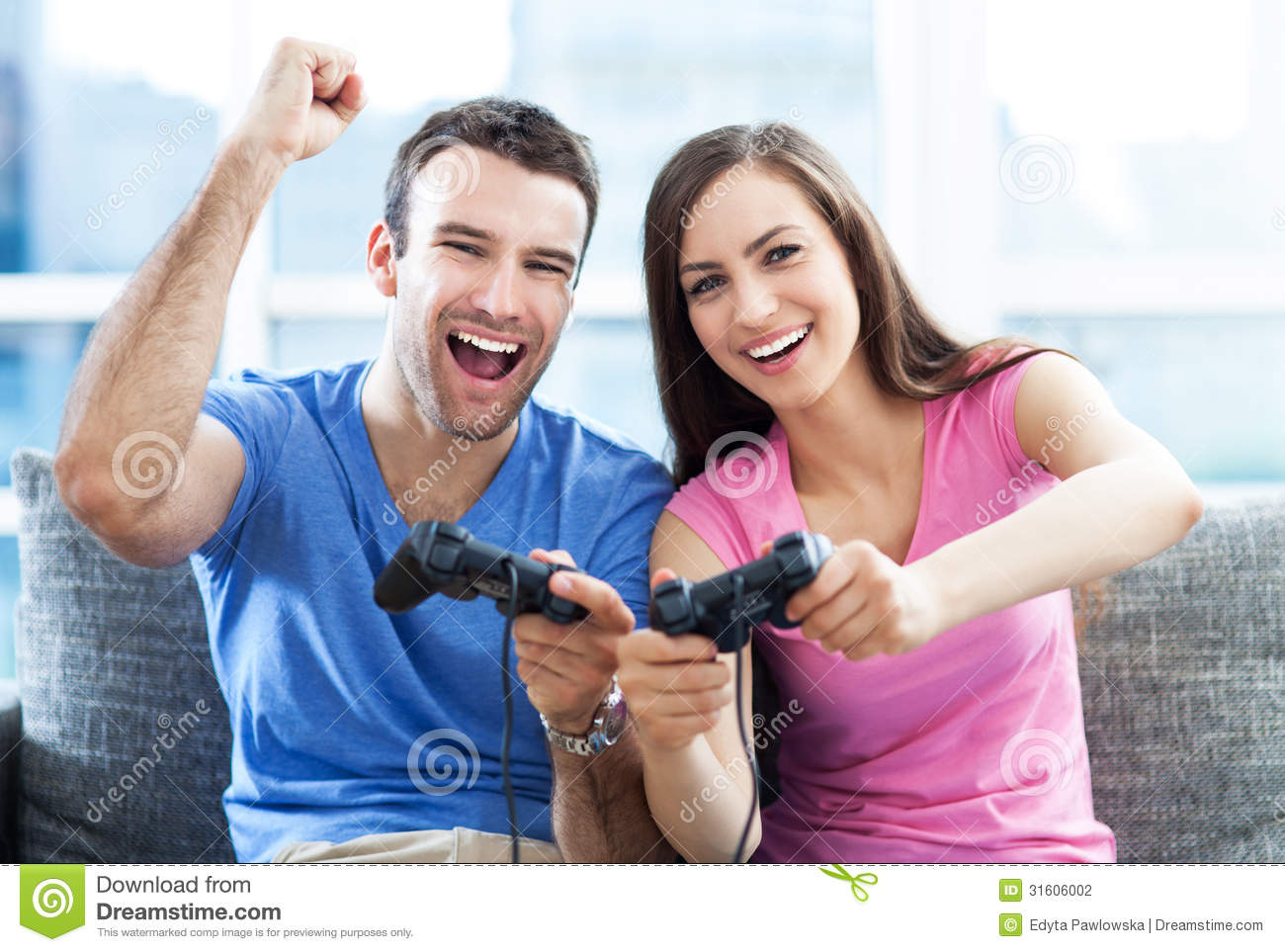 Download Couple playing video games stock photo. Image of domestic - 31606002