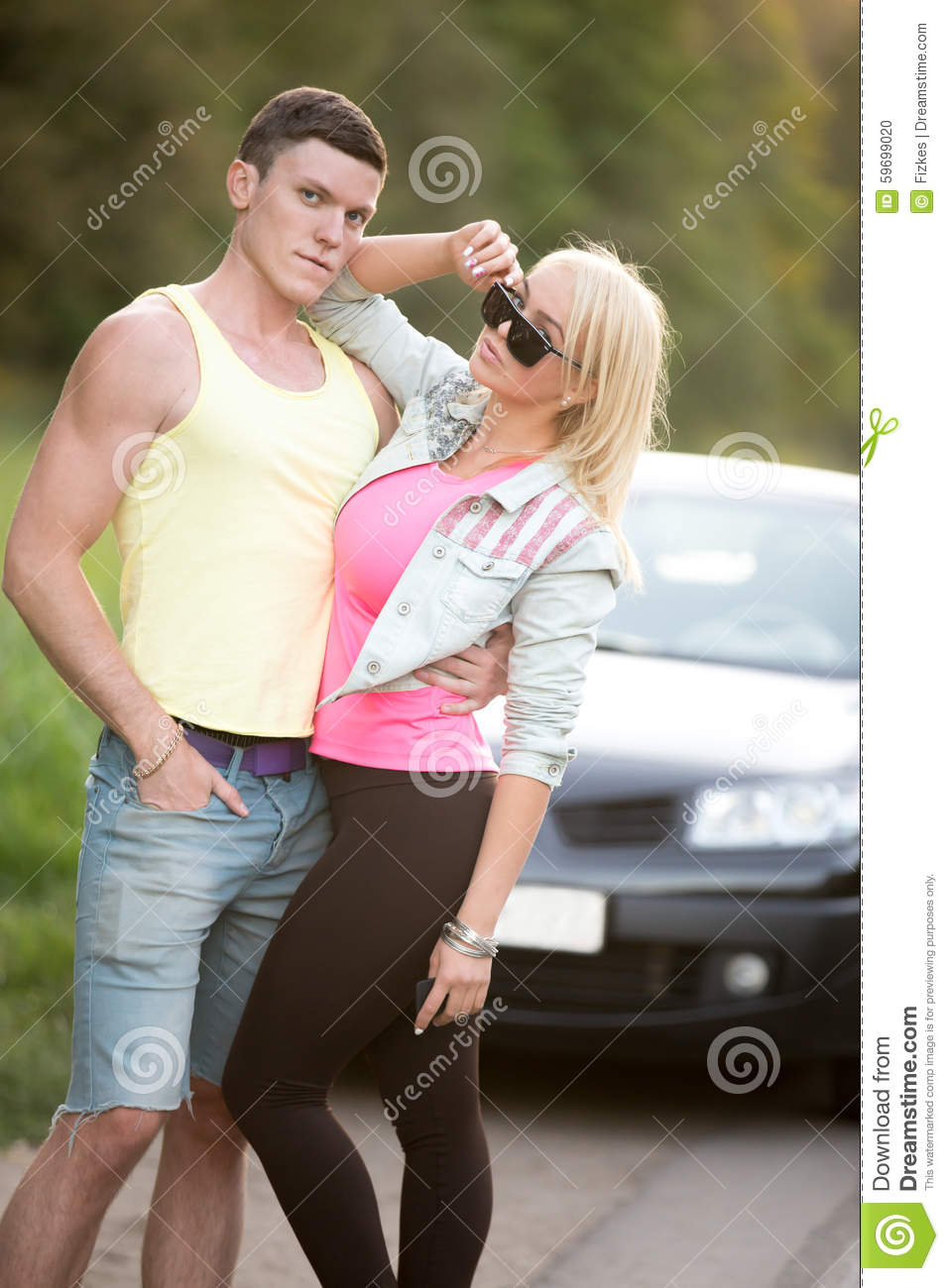 Couple Posing In Front Of Car Stock Photo Image Of Girlfriend Couple 59699020