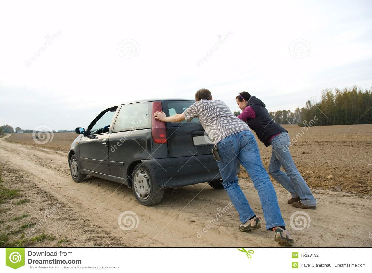 couple pushing a car stock photo image of repair problems 16223132