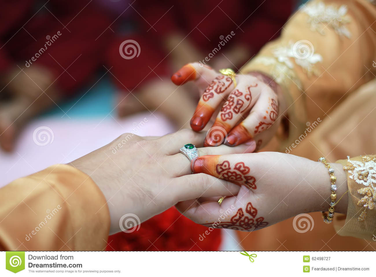Couple Putting A Gold Ring On Hand Stock Image - Image of groom ...