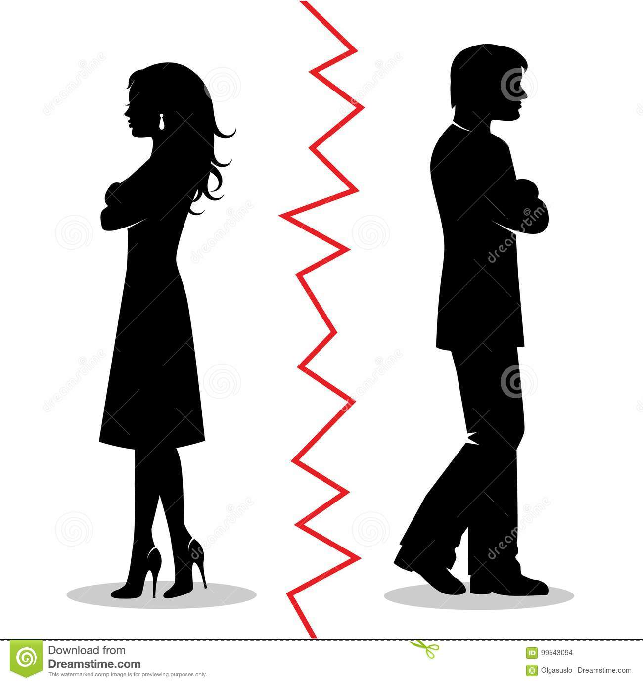 The Couple Quarreled And Turned Away From Each Other Stock