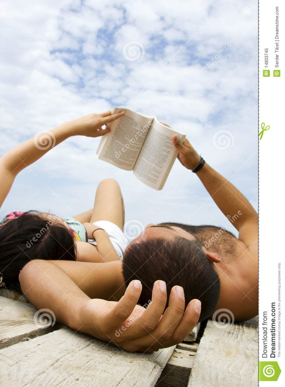couple reading book in holiday stock image   image 14803745