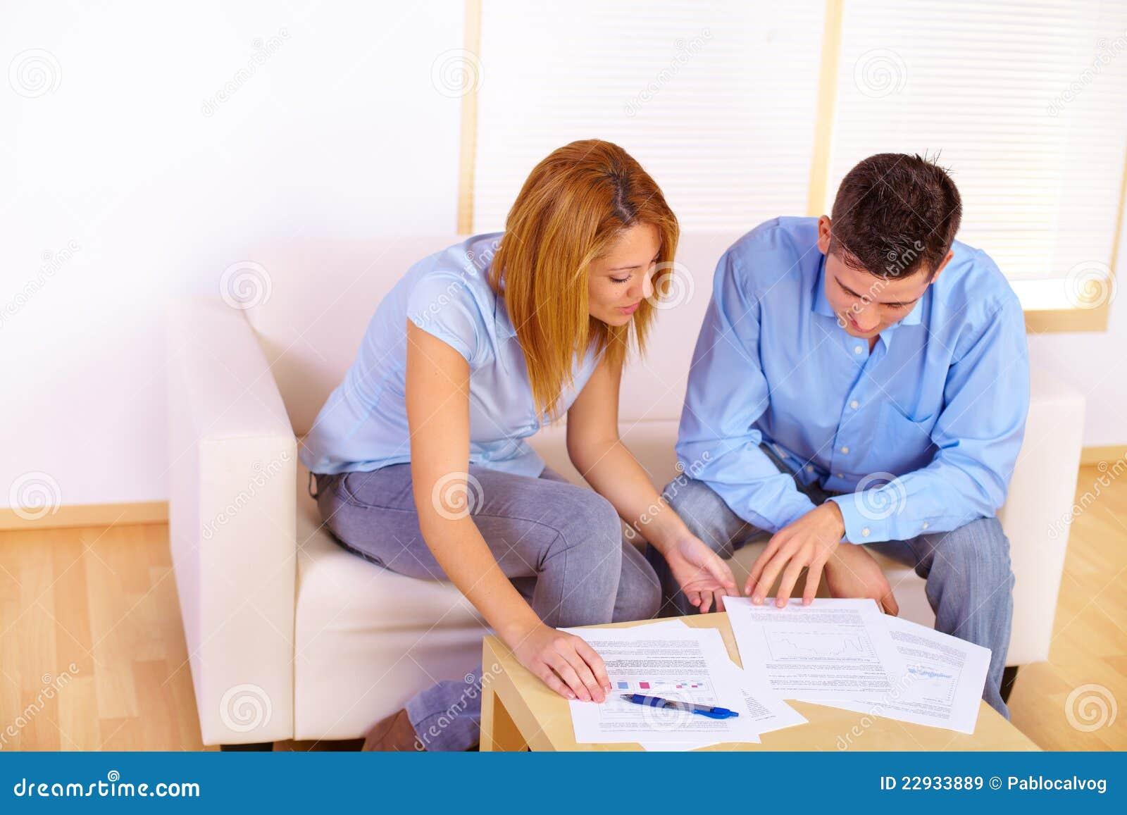 Couple Reading Documents Royalty Free Stock Images Image