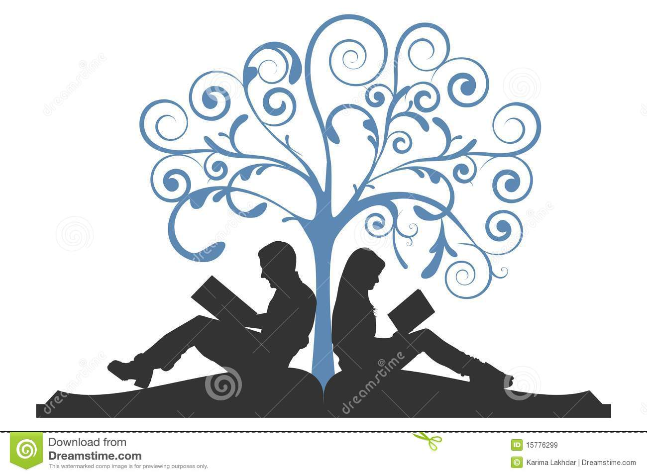 couple reading under tree stock vector image of icon