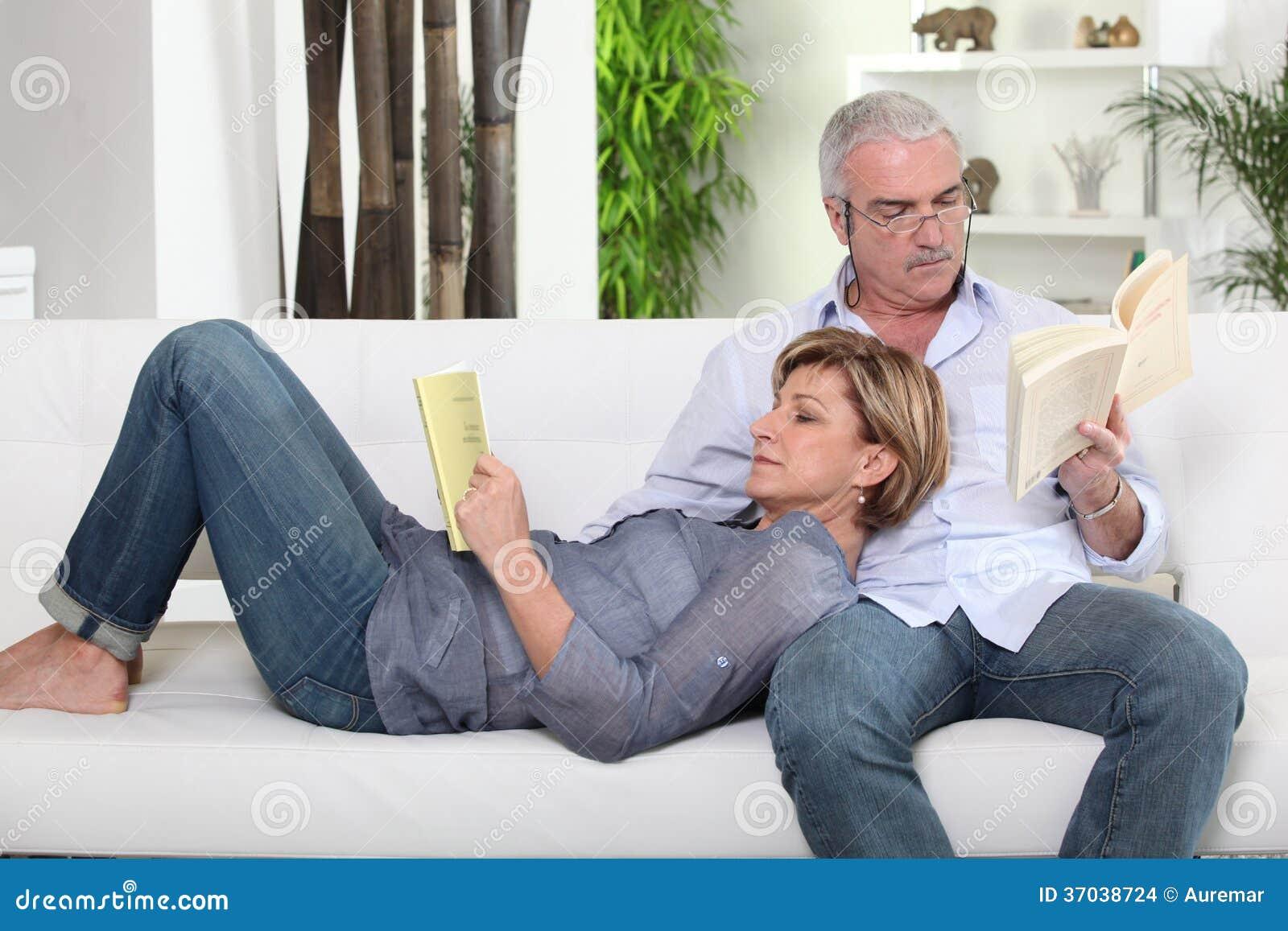 Couple Reading Stock Photo Image Of Pair, Older, Naked -3670