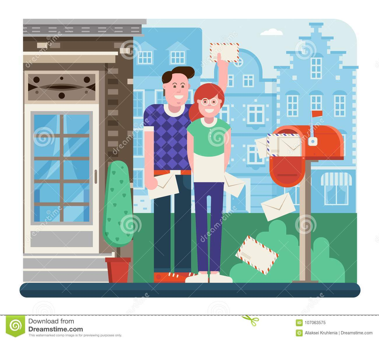 Couple Receiving Mail from Letterbox