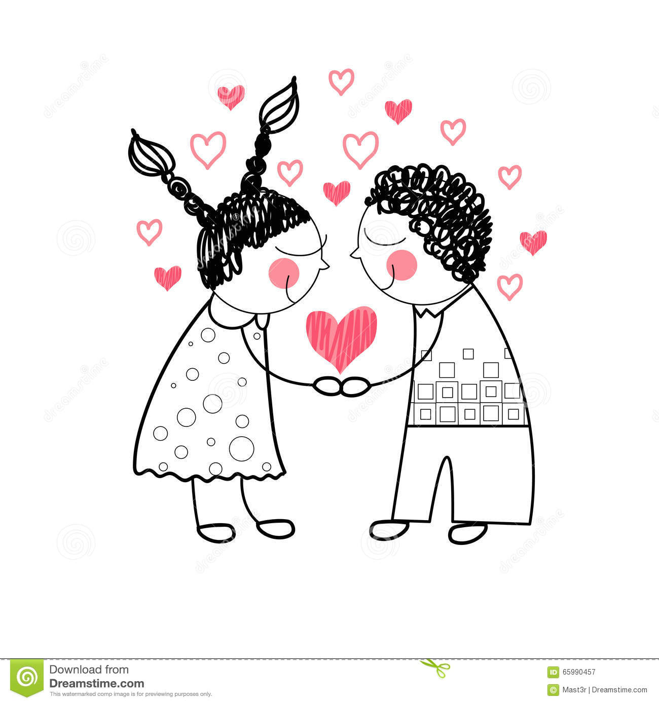 Vector Couple Red Heart Shape Love Holding Hands Drawing Simple Line