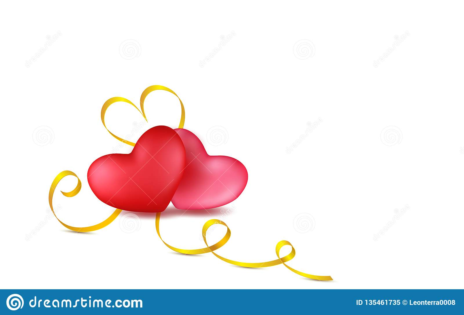 Couple red, rose hearts with golden calligraphy stripe. Isolated objects. Valentines day greeting card design in 3d style on white