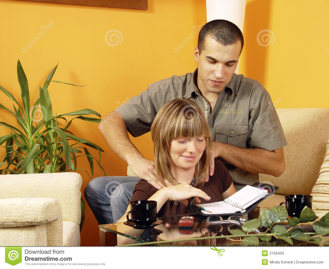Couple Relaxing At Home Stock Photos Image 2159403