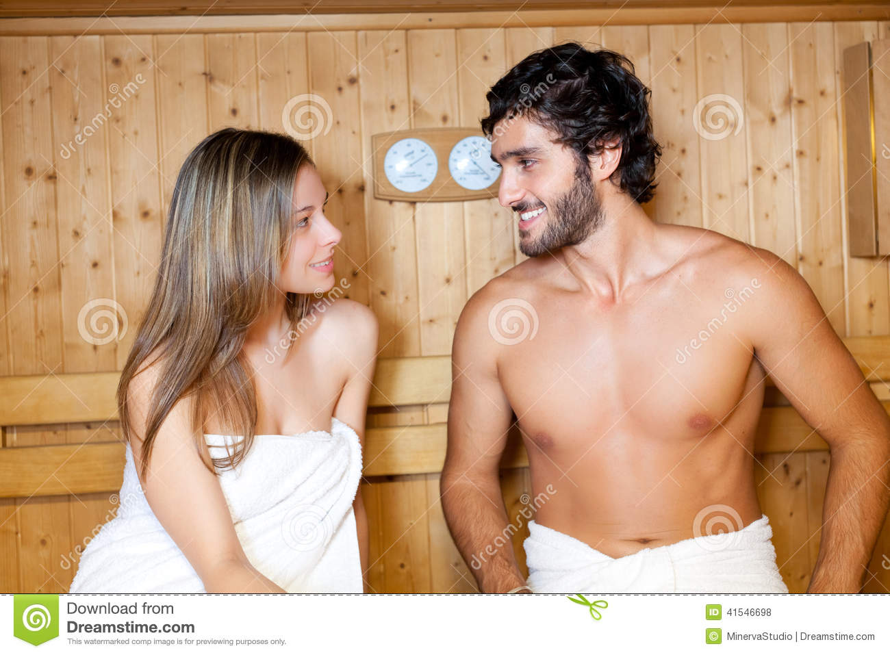 naked couple in sauna