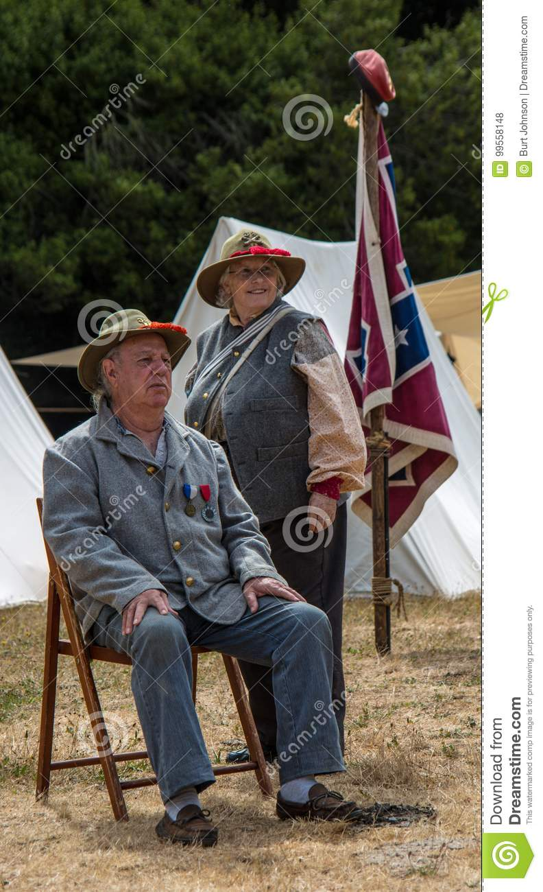 Couple Rests In Confederate Uniforms Editorial Stock Photo
