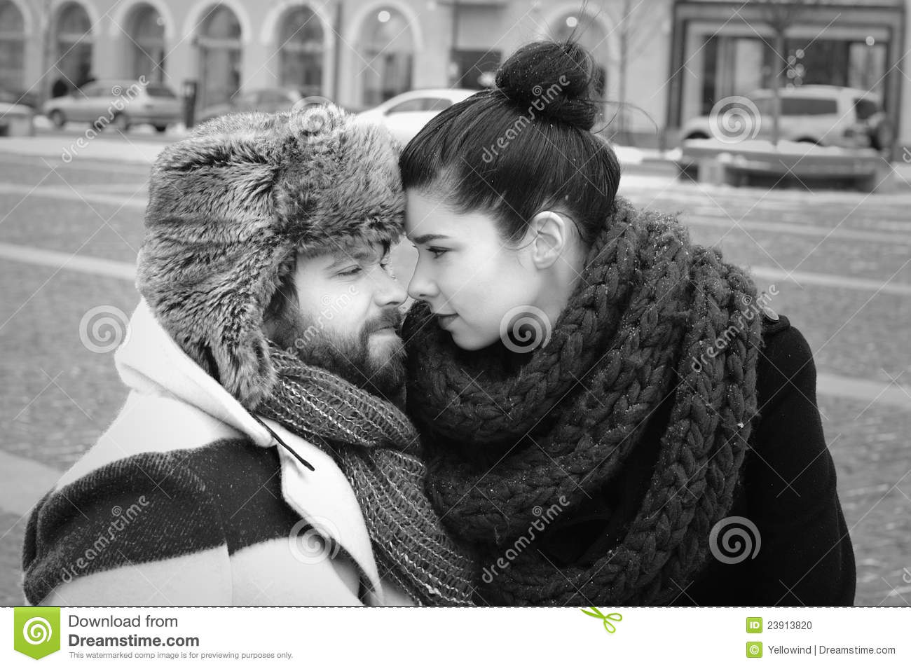 A Couple In Retro Style Nose Kiss Stock Photo - Image of