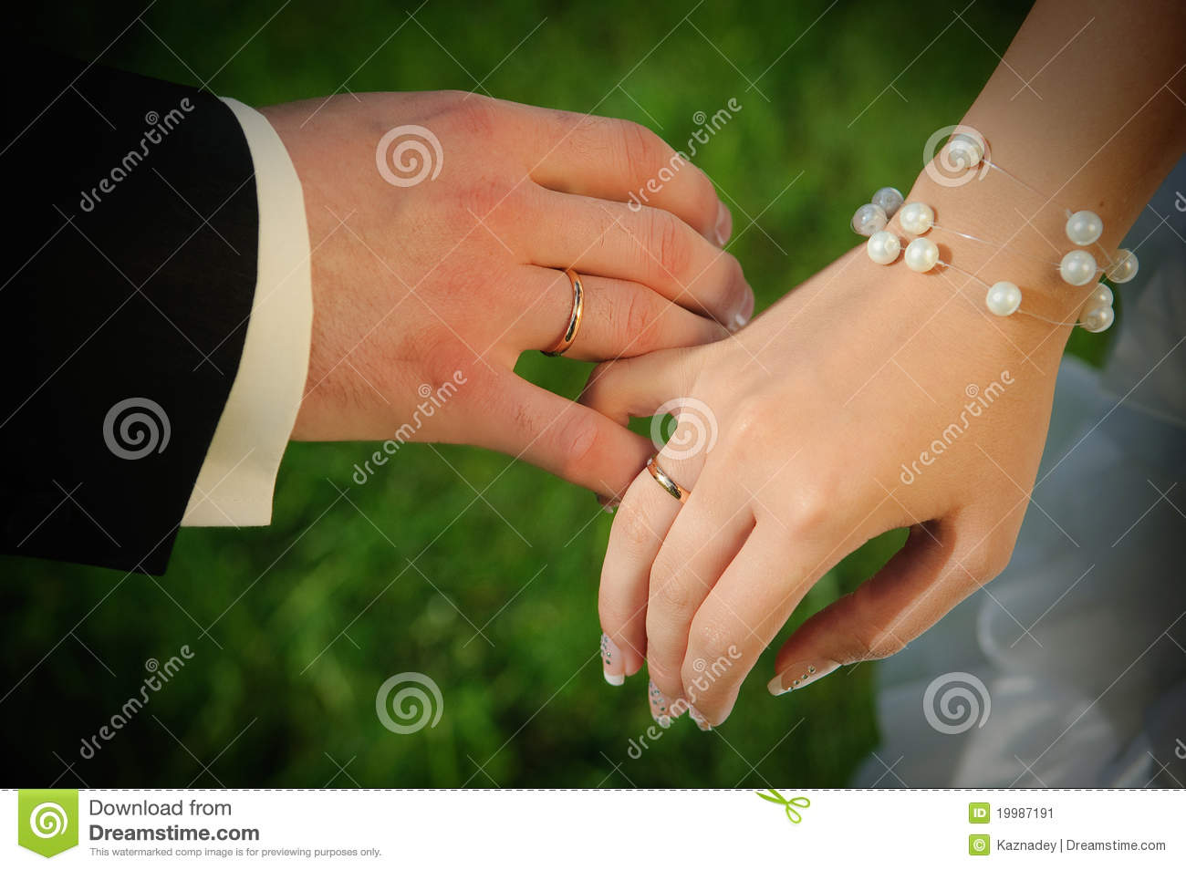 Couple S Hands With Wedding Rings Stock Image Image Of