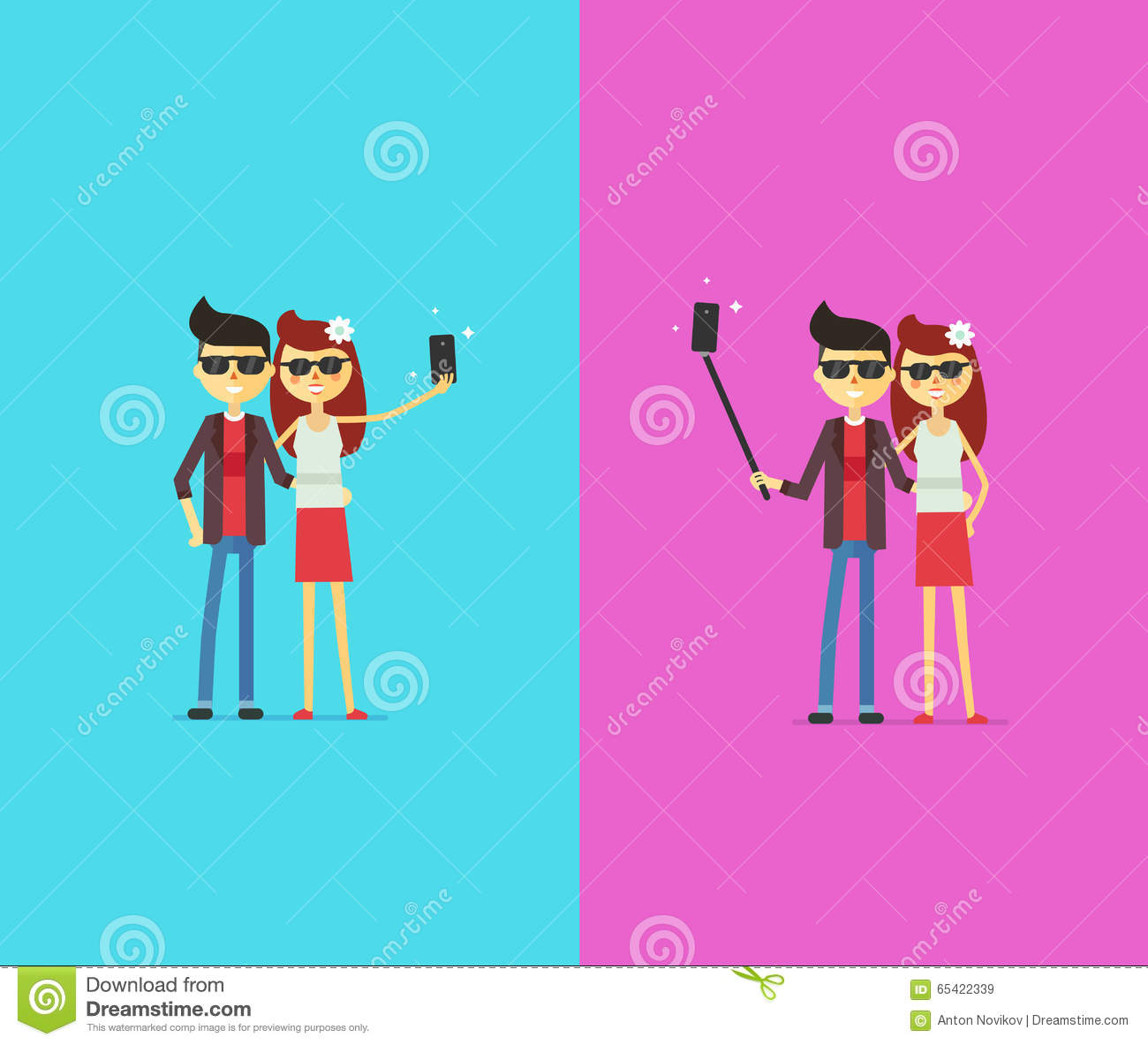 couple with selfie stick cartoon characters stock vector image 65422339. Black Bedroom Furniture Sets. Home Design Ideas