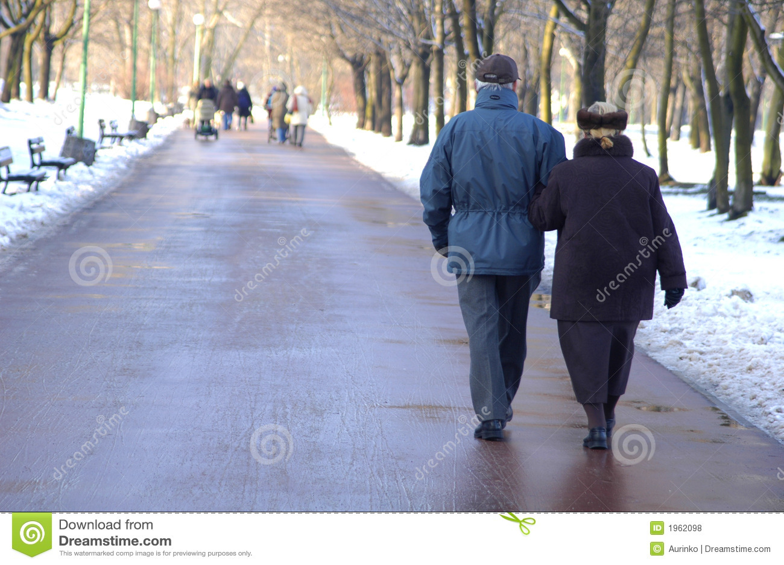A couple of seniors walking