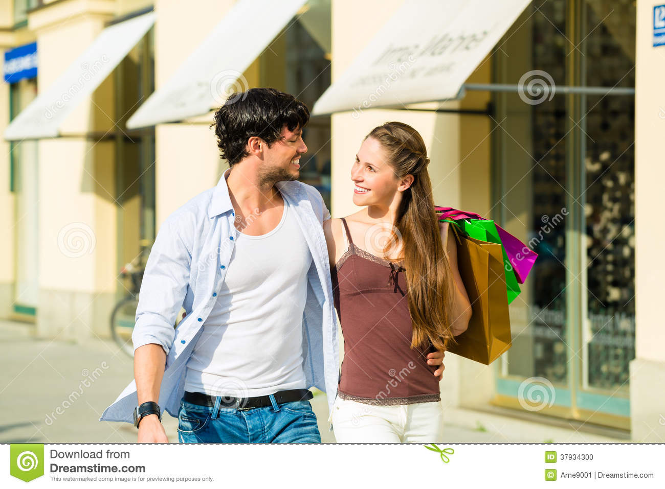 Couple shopping and spending money in city stock photo image 37934300 - Shopping cash card paying spending ...