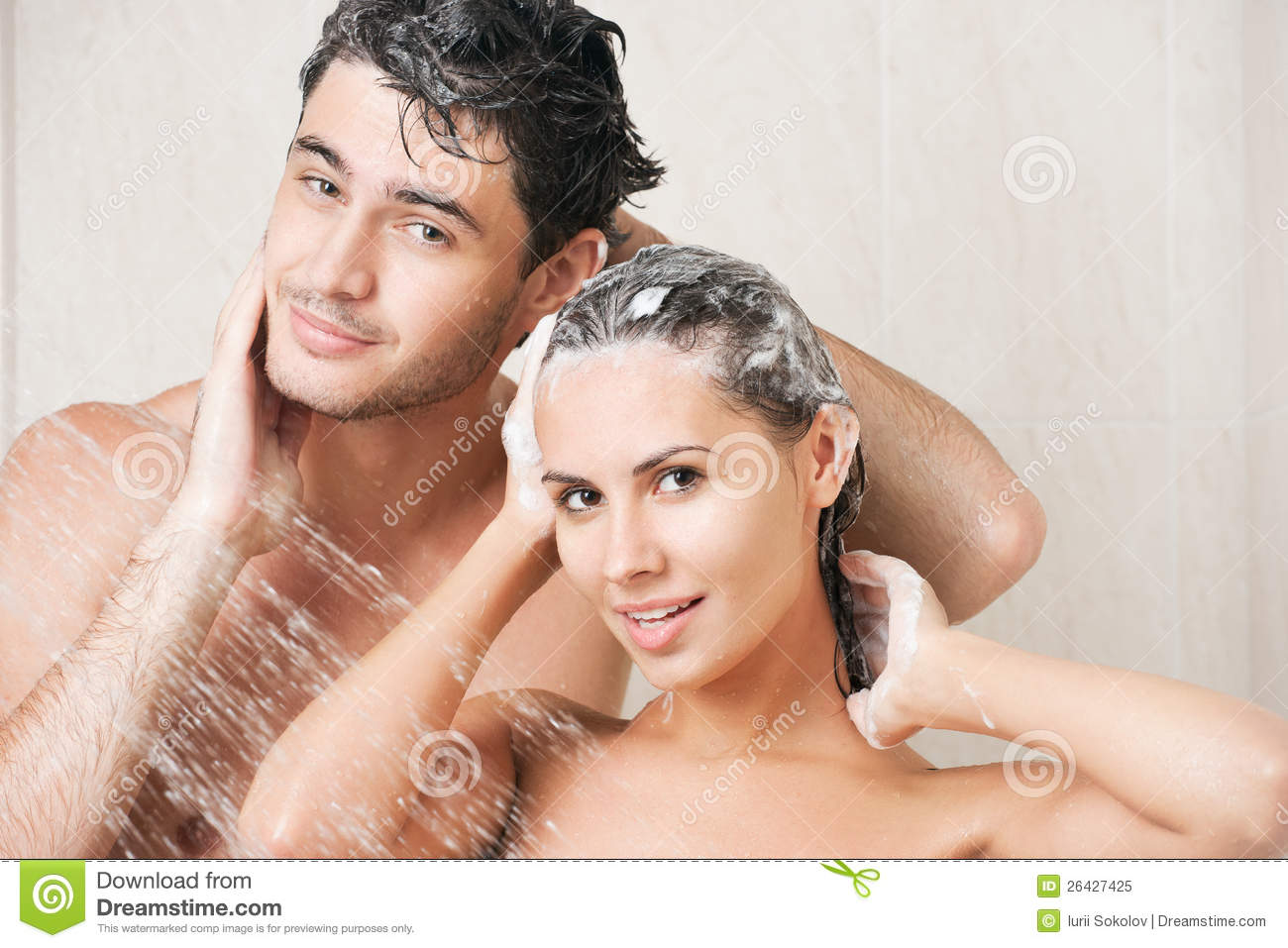 Man and woman shower together naked British