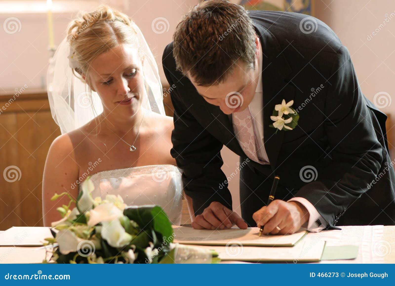 couple signing wedding marriage register stock image image of