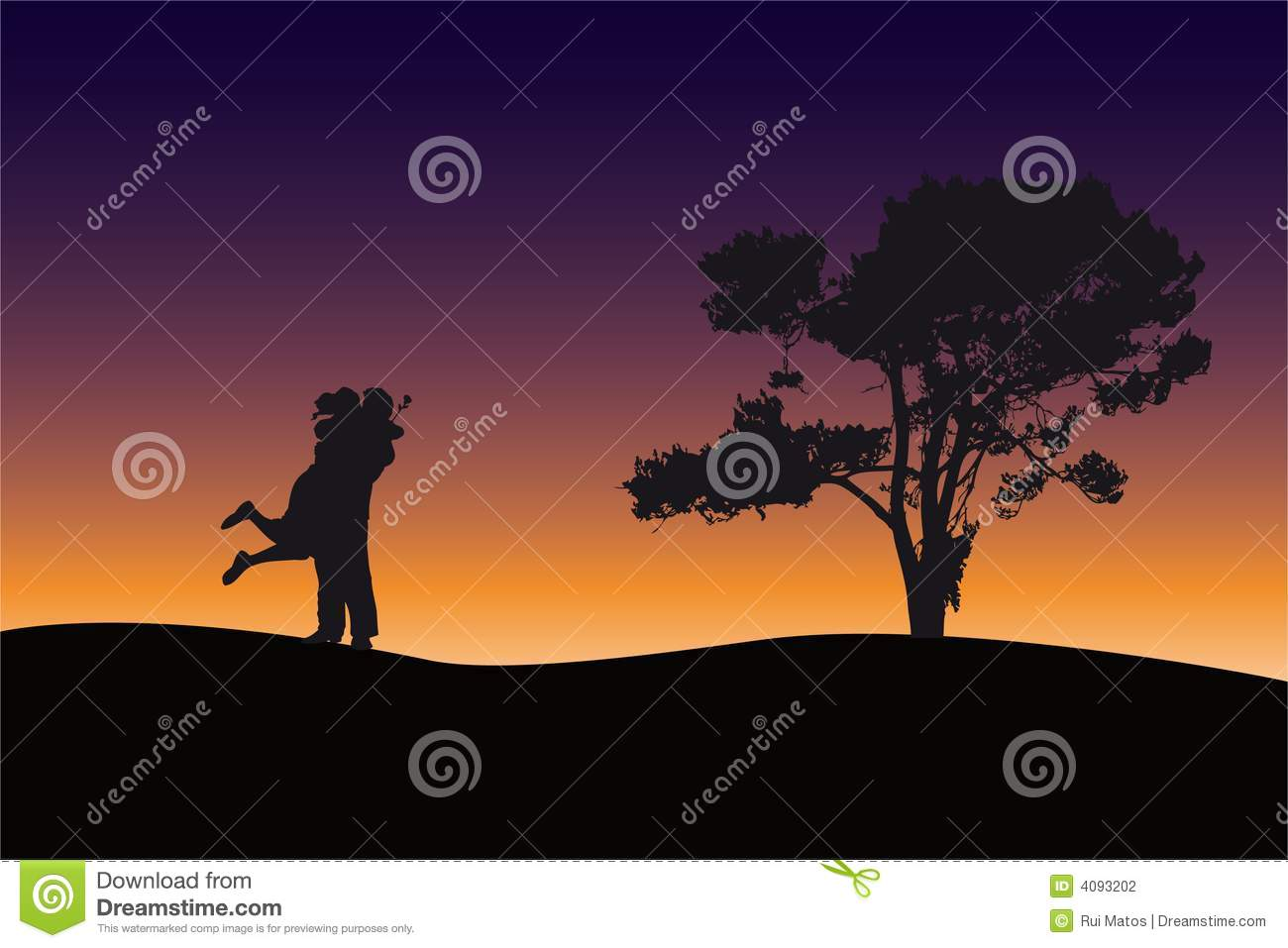 Couple silhouette at dawn