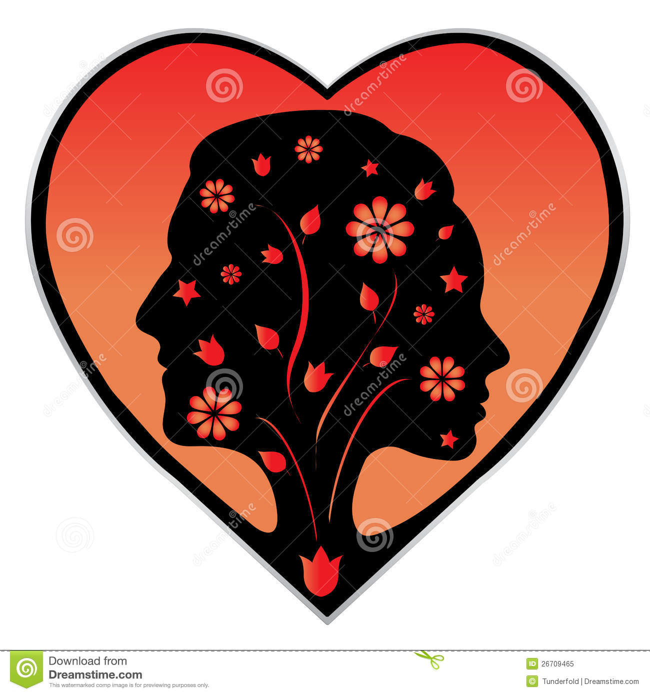 couple silhouette in a heart royalty free stock photo