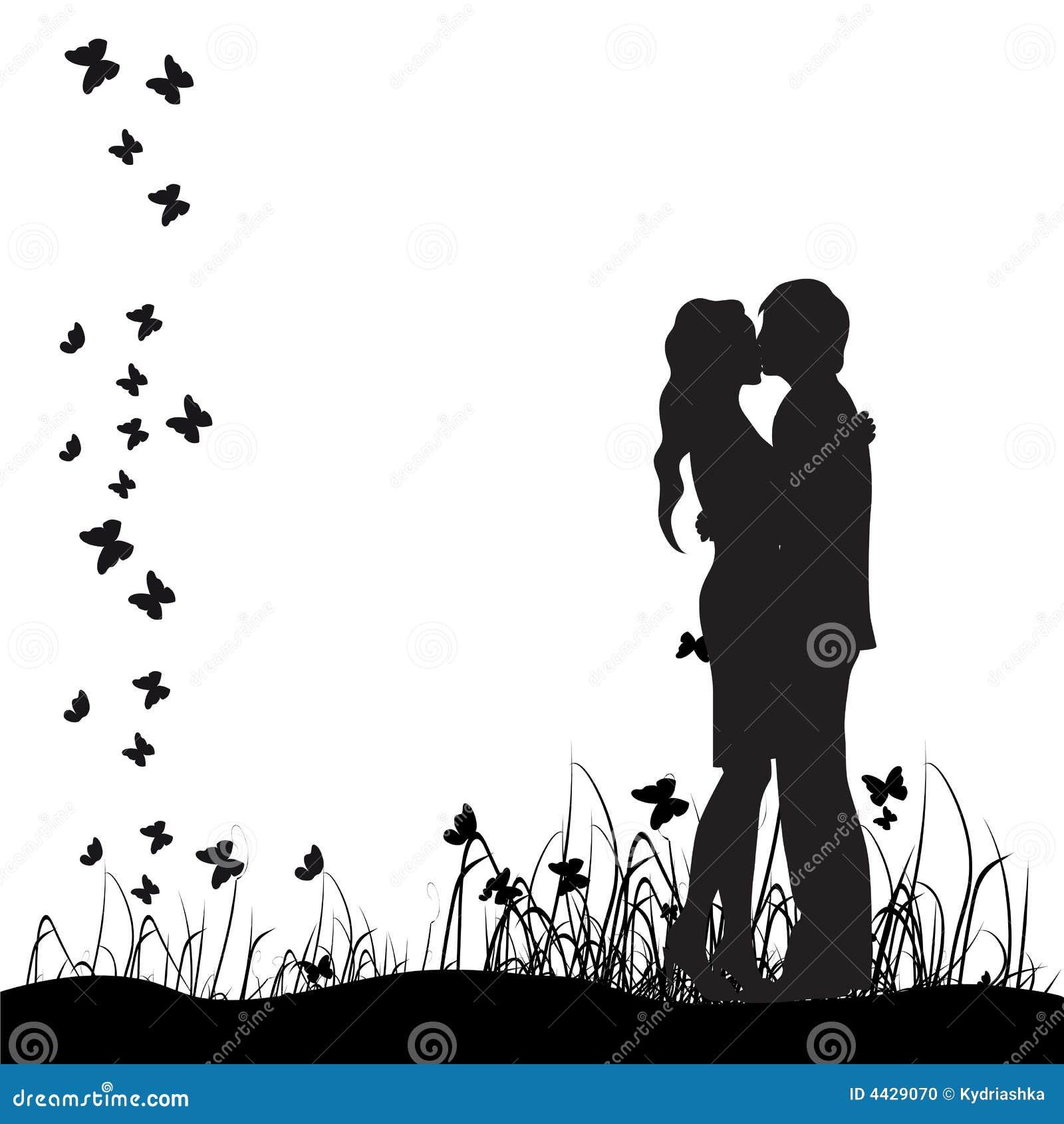 Couple silhouette,kiss,meadow