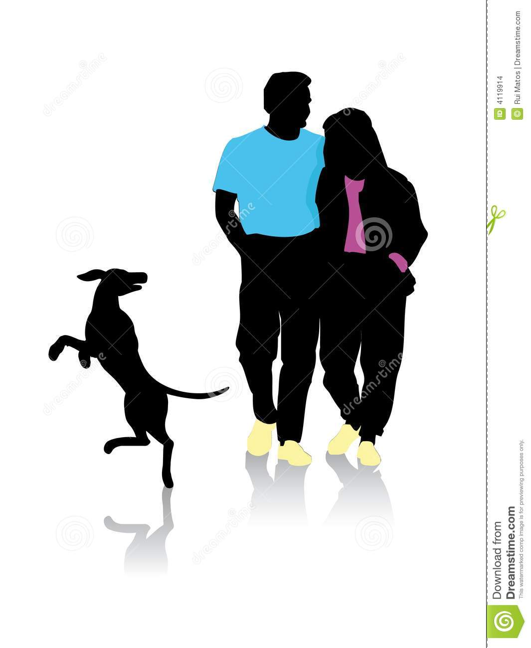 Couple silhouette walking with
