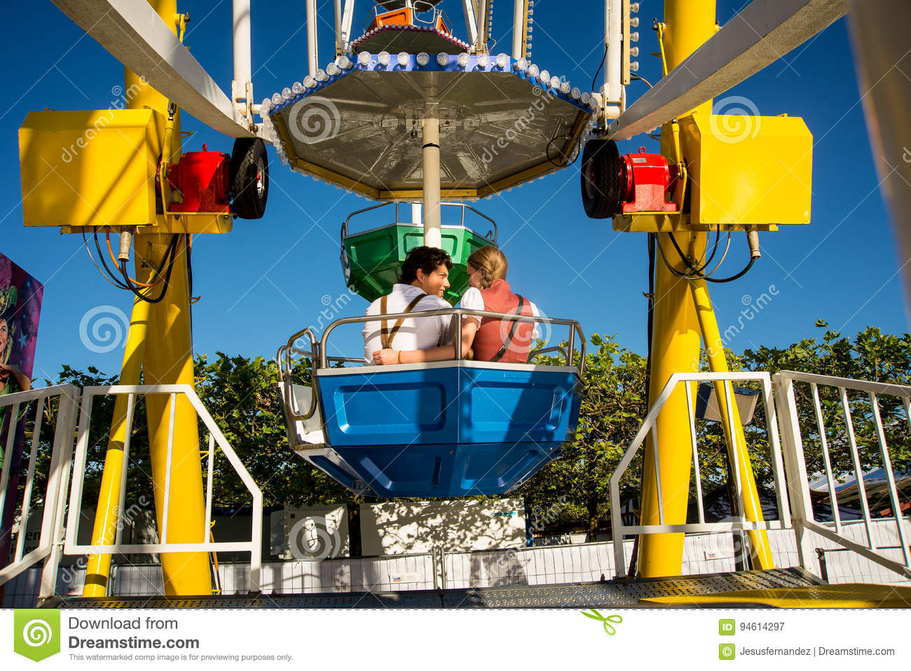 Couple Sits In The Ferris Wheel Editorial Photography Image Of Couple Fair 94614297